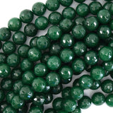 Faceted Emerald Green Jade Round Beads 15