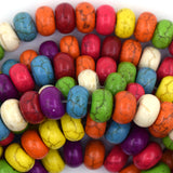 10mm multicolor turquoise rondelle beads 16