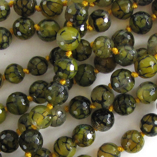 "10mm faceted green yellow crab agate round beads 8"" strand 17 pcs"