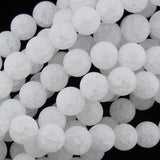 10mm matte white crack crystal round beads 15.5