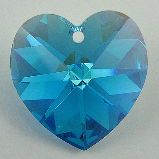 2 pieces 18mm Swarovski crystal heart pendant 6202 blue zircon AB