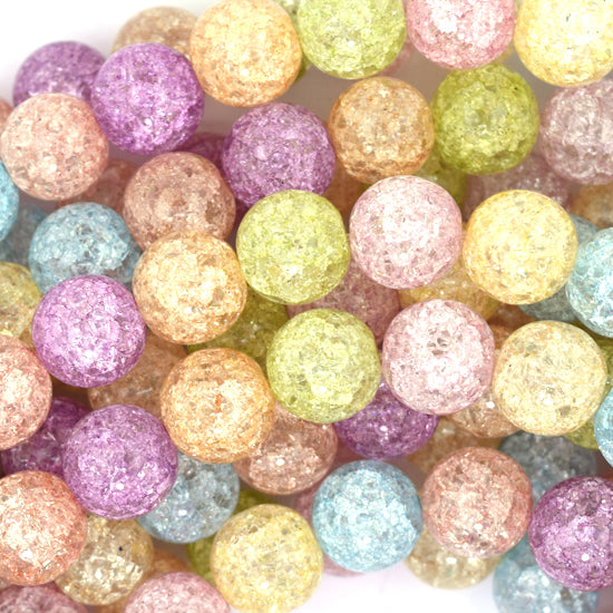 "10mm multicolor crack crystal round beads 15.5"" strand"