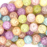 10mm multicolor crack crystal round beads 15.5