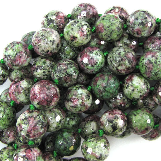 "14mm faceted ruby zoisite jade round beads 11"" strand"