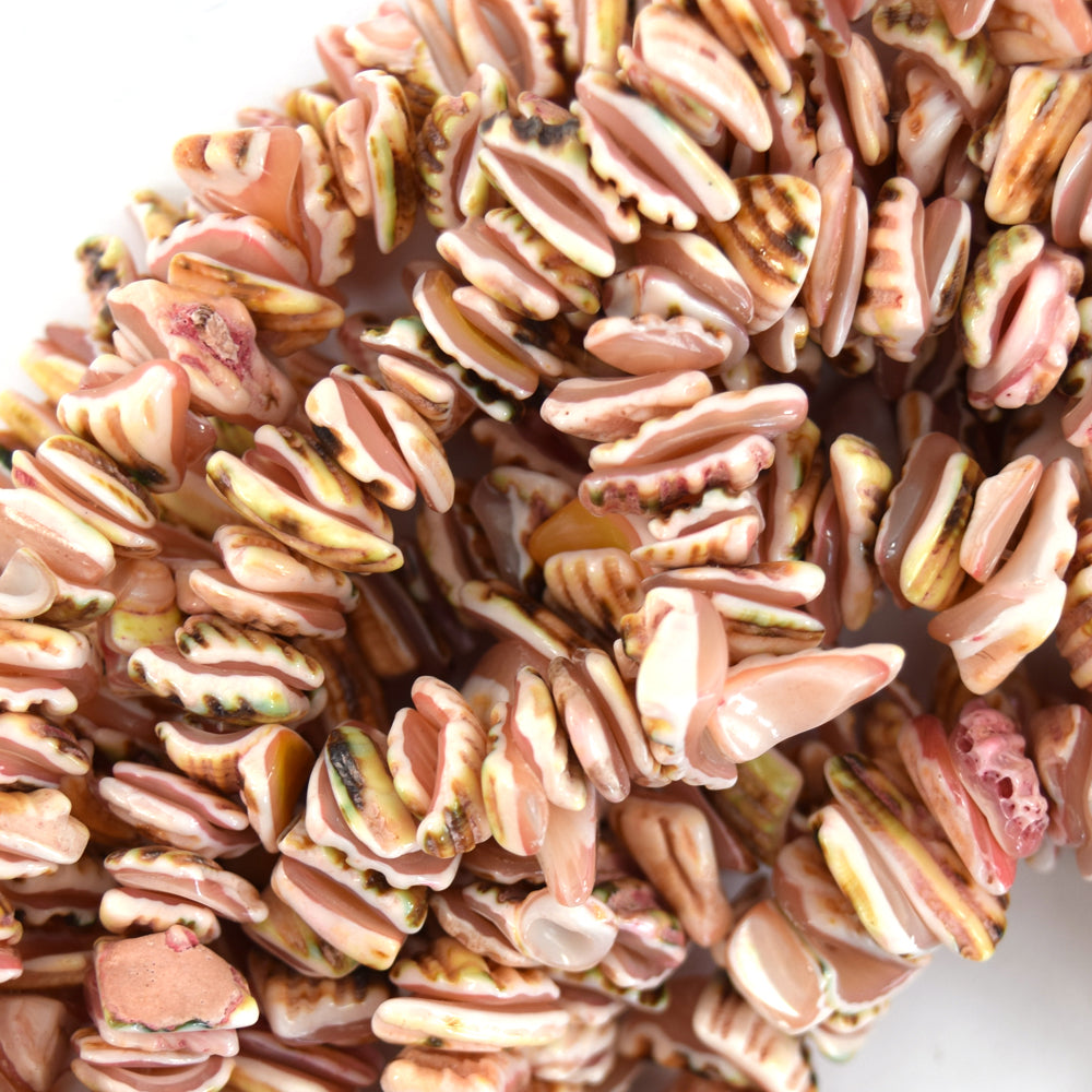 "10mm - 14mm pink shell chip nugget beads 16"" strand"