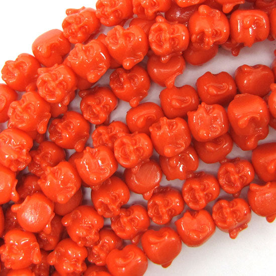"12mm synthetic coral carved buddha beads 14"" strand rose pink"