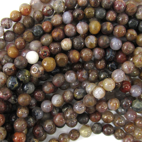 "4mm natural faceted brown pietersite round beads 15.5"" strand"