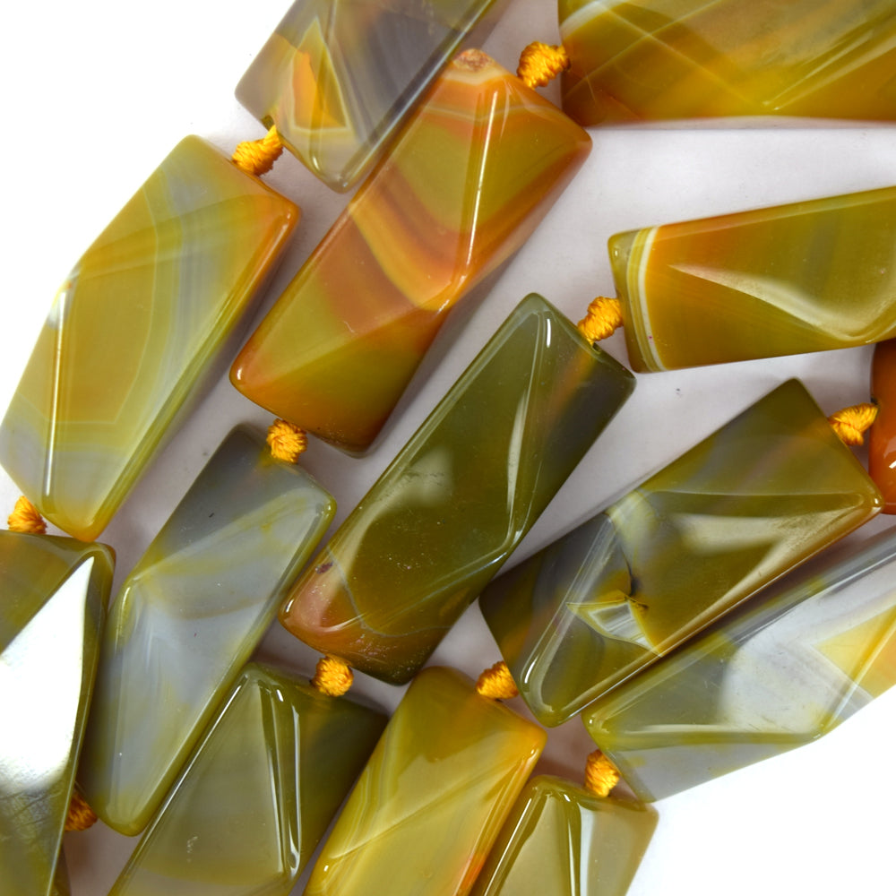 "40mm faceted olive agate rectangle beads 15.5"" strand"