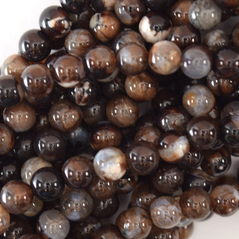 "10mm faceted petrified wood agate round beads 15"" strand S2"