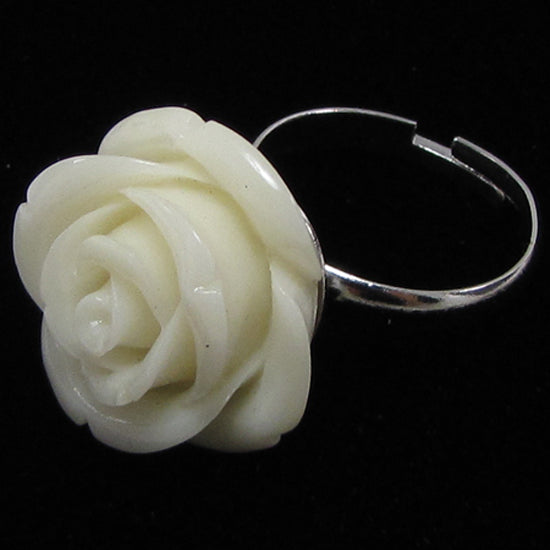 20mm white synthetic coral carved rose flower adjustable ring size 5-7