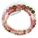 6-14mm fire cherry quartz round beads necklace 17