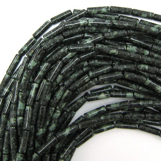 "13mm natural green jasper tube beads 16"" strand"