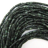 13mm natural green jasper tube beads 16