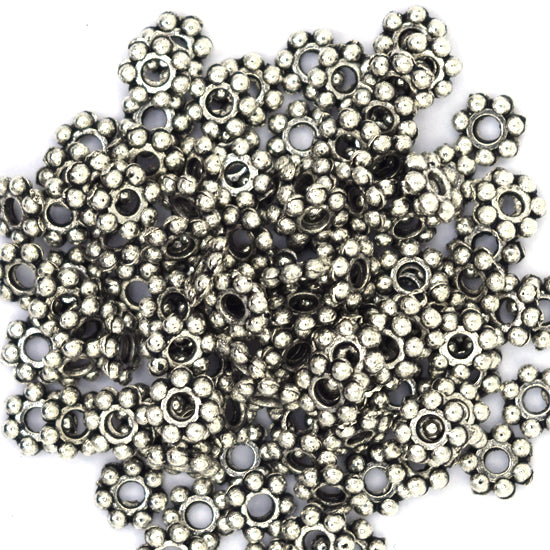 470 3mm silver plated antique style daisy spacer beads findings