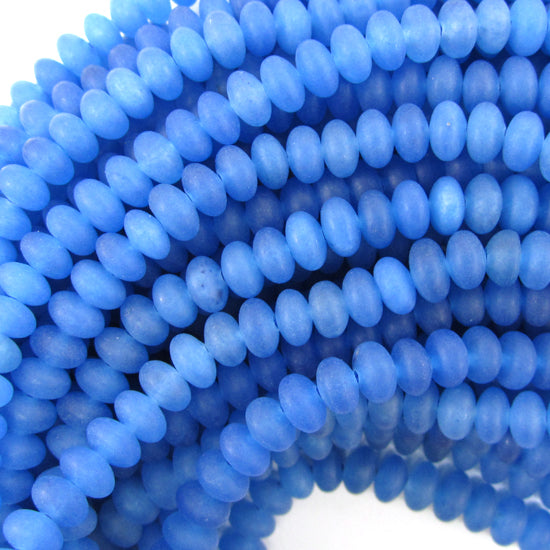 "5mm matte blue jade rondelle beads 15.5"" strand"