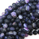 10mm matte purple stripe agate round beads 15.5