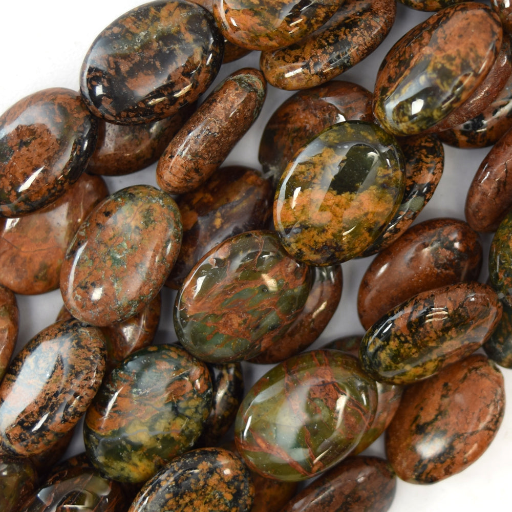 "14mm brown green opal flat oval beads 16"" strand"