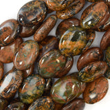 14mm brown green opal flat oval beads 16