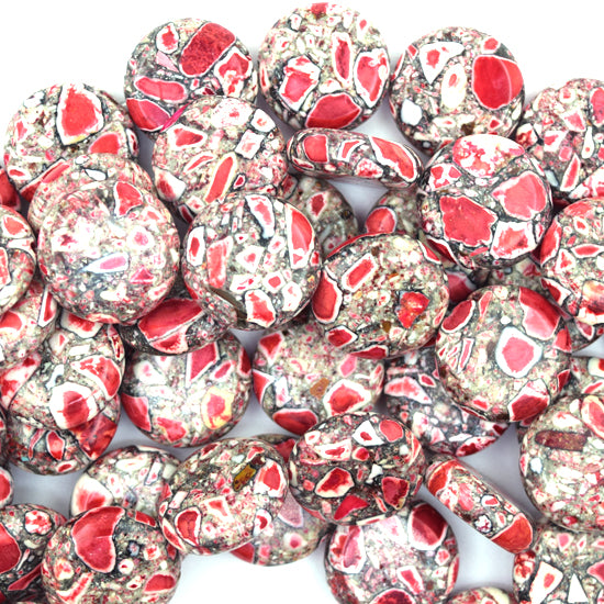 "18mm red mosaic flower turquoise coin beads 16"" strand"