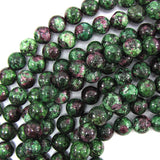 10mm ruby zoisite jade round beads 15.5