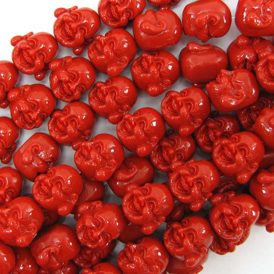 "16mm synthetic coral carved buddha beads 12"" strand red"