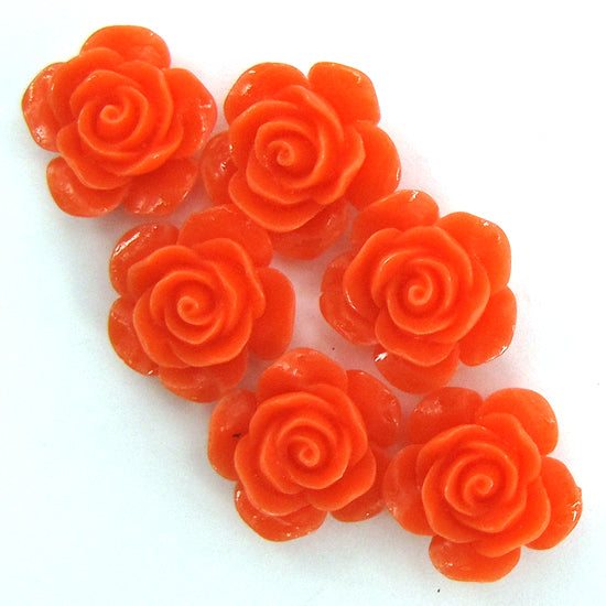 "15mm synthetic coral carved rose flower beads 15"" strand 24 pcs pink orange"