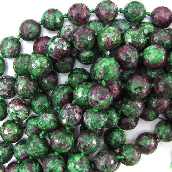"12mm faceted ruby zoisite jade round beads 12"" strand"