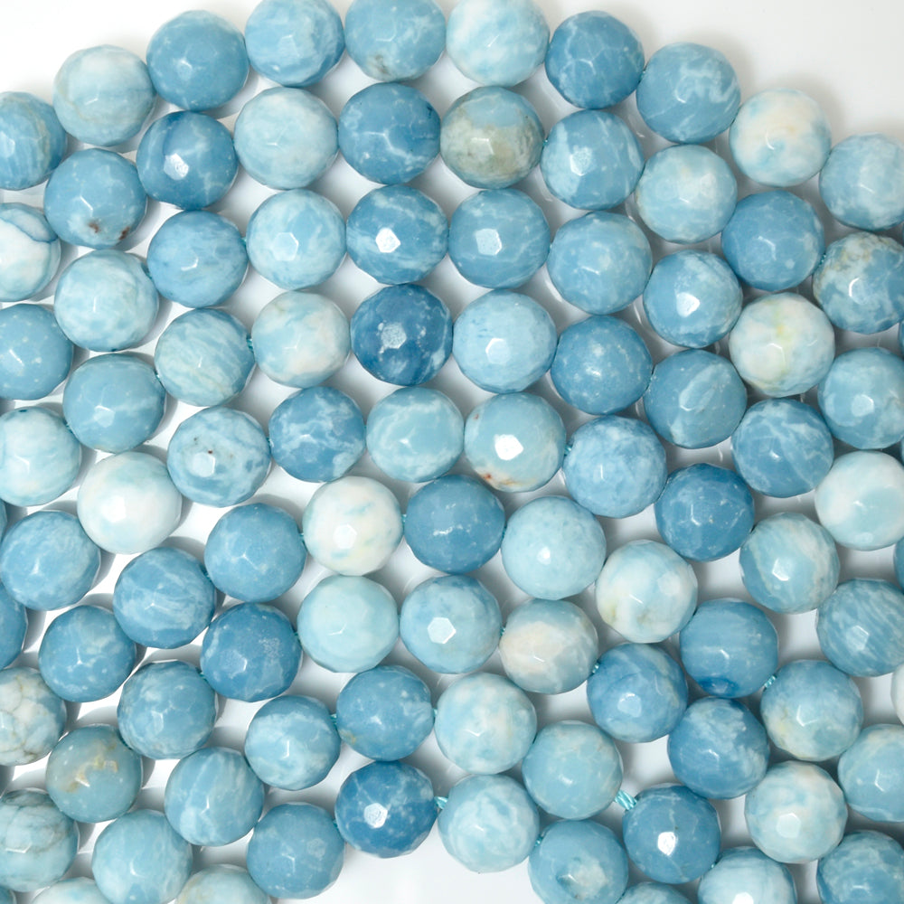 "Faceted Blue Larimar Quartz Round Beads 15.5"" Strand 4mm 6mm 8mm 10mm 12mm"