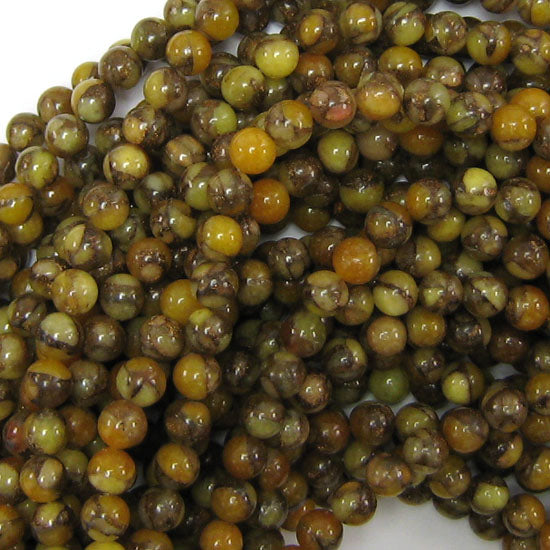 "6mm pressed jade round 15.5"" strand brown"