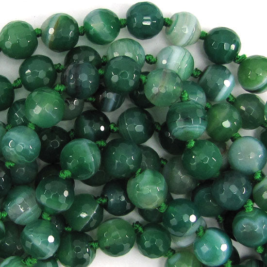 "10mm faceted green stripe agate round beads 15"" strand"