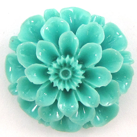 2 pieces 30mm synthetic green coral carved chrysanthemum flower pendant bead
