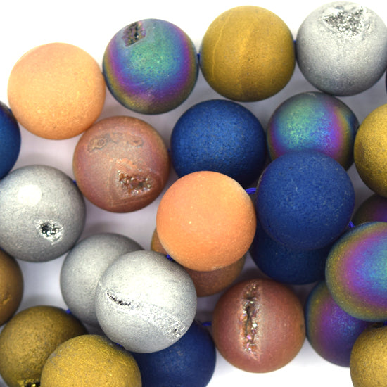 "14mm matte multicolor druzy agate round beads 15.5"" strand"