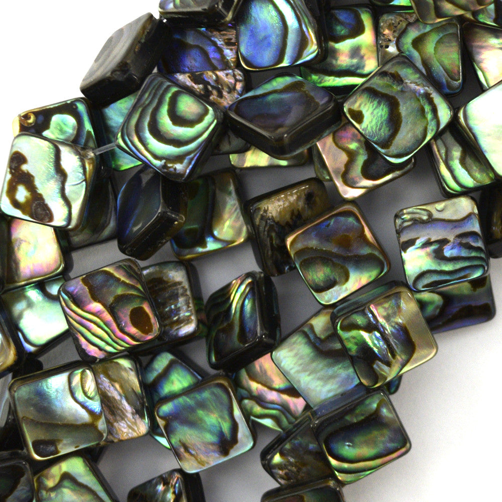 "10mm abalone shell diamond beads 15.5"" strand"