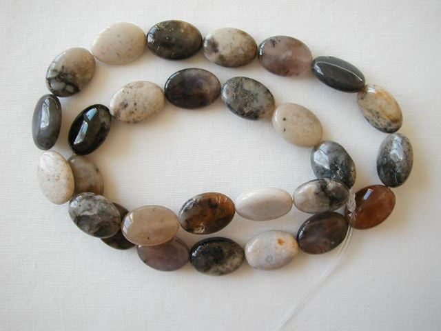 "14mm grey agate flat oval beads 15.5"" strand"