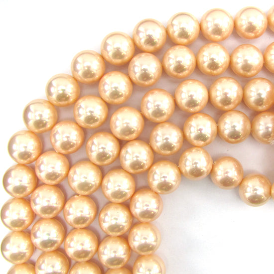 "14mm pink shell pearl round beads 16"" strand S1"
