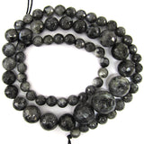 6-13mm faceted grey labradorite larvikite round beads 18
