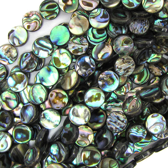 "10mm abalone shell coin beads 16"" strand"
