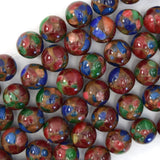 14mm ruby zoisite pressed jade round beads 15.5