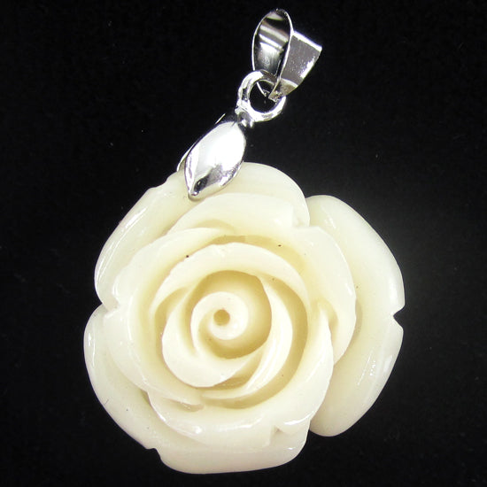 2 24mm synthetic coral carved rose flower pendant with silver plated bail cream