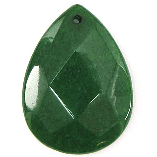 2 pieces 40mm faceted emerald green jade flat teardrop bead pendant