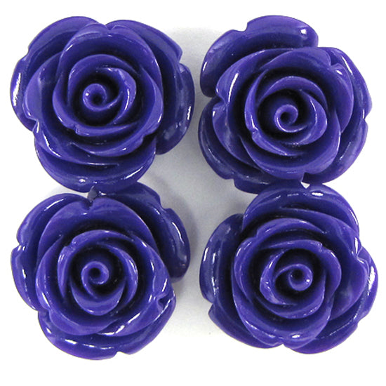 8 24mm synthetic coral carved rose flower pendant bead purple