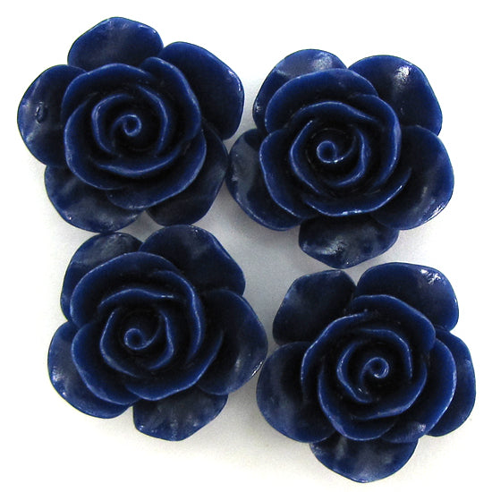 20mm synthetic coral carved rose flower pendant bead 8 pcs dark blue