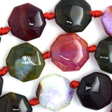 20mm watermelon tourmaline agate octagon beads 15