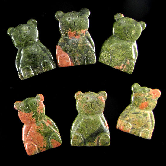 4 pieces 33mm unakite carved teddy bear pendant bead 1 piece