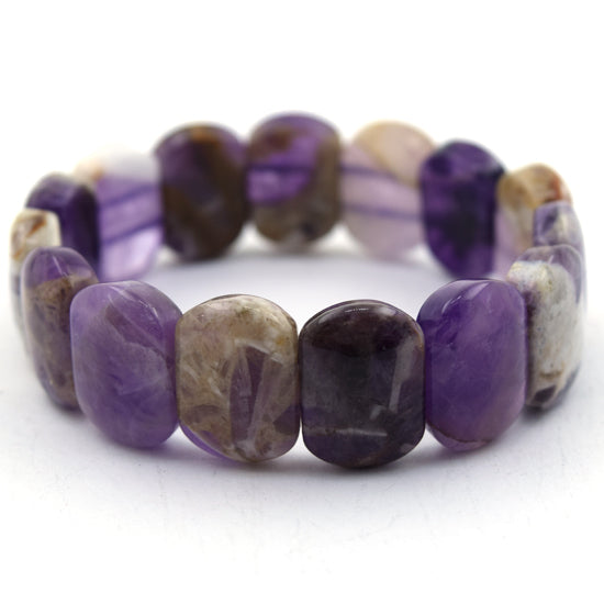 16mm natural amethyst stretch bracelet 7.5""
