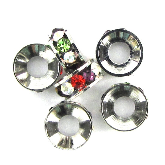 6 9mm silver plated rhinestone rondelle beads multicolor findings