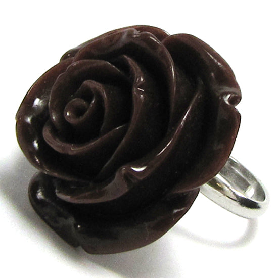 26mm brown synthetic coral carved rose flower adjustable ring size 5-7