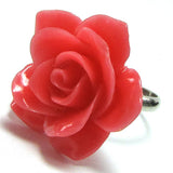28mm synthetic coral carved rose flower adjustable ring size 5-7 pink