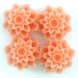 18mm synthetic cream pink coral carved chrysanthemum flower pendant bead 6pcs
