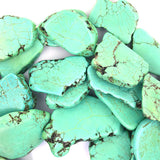 15mm - 20mm green turquoise freeform slab slice nugget beads 15.5